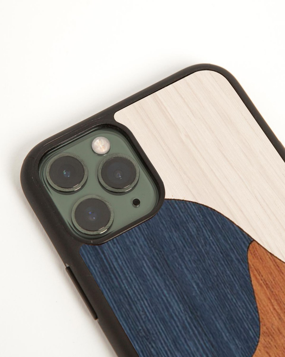 wood'd inlay blue iphone cover - side