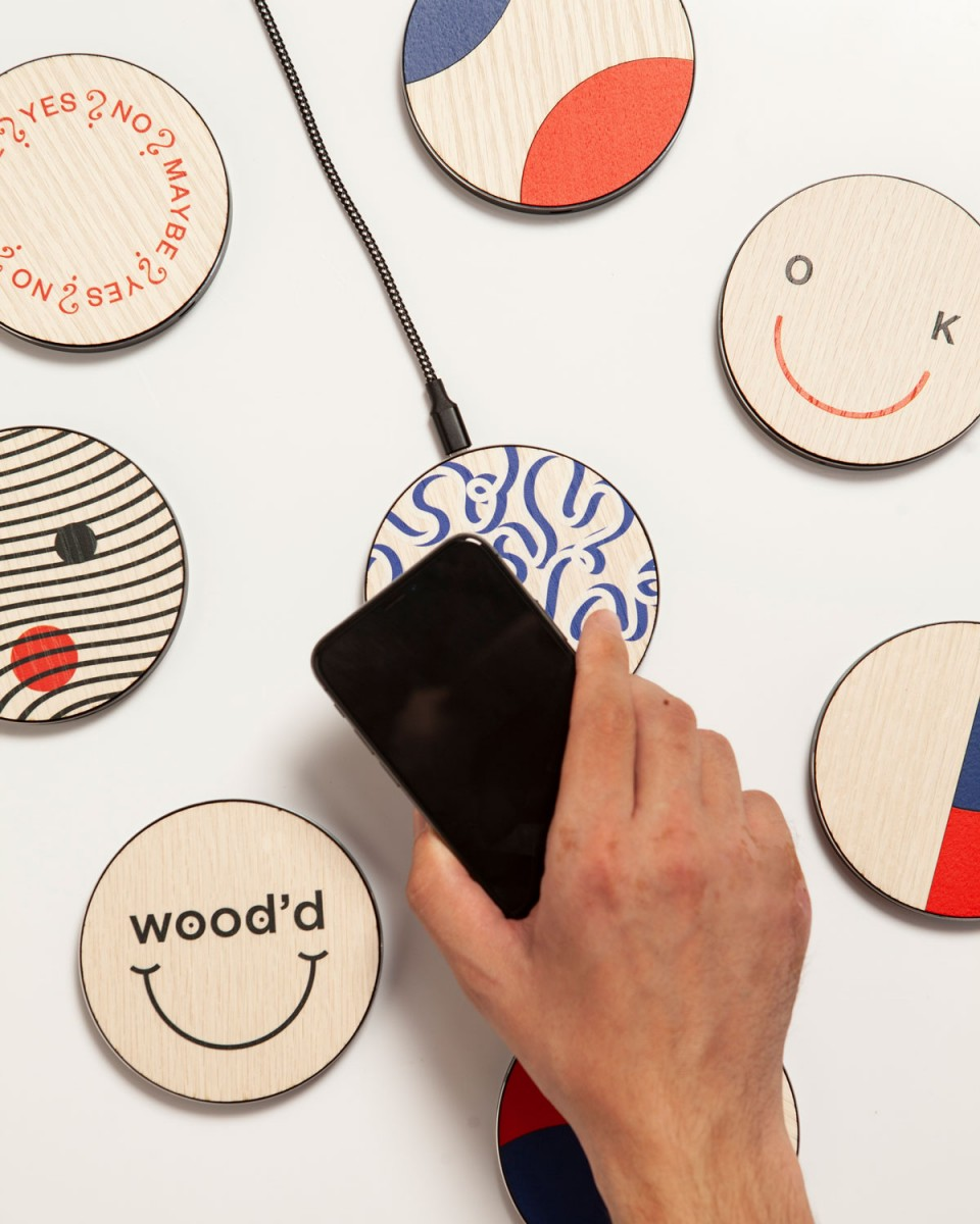 Wooden Wireless Chargers Happy Sad - Wood'd